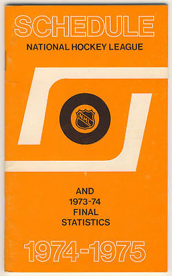 1974-75 NHL Official Schedule