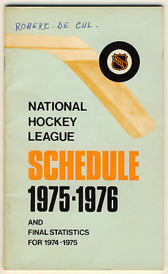 1975-76 NHL Official Schedule