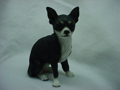 CHIHUAHUA dog HAND PAINTED FIGURINE Black White Puppy resin Statue COLLECTIBLE