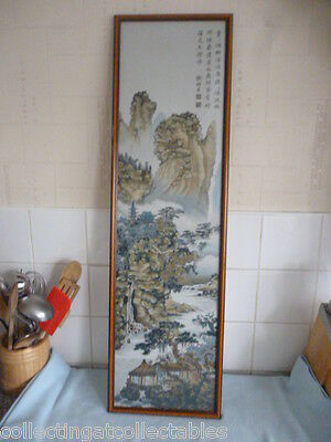 Framed Hong Mensilk Mill Guangdong Province Silk Embroidery Mountain Scene