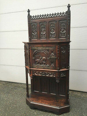 Antique French Gothic Cabinet in Oak Model Excellent Carved Medieval Art