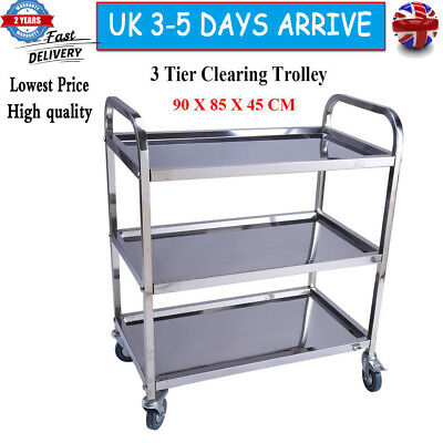 3 Tier Medium Stainless Hostess Catering/Dining Car Service Trolley Storage UK