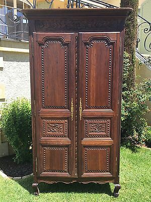 Antique French Normandy Bedroom Armoire in Oak Large Kitchen Cabinet, Storage