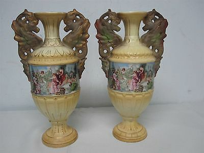 """PAIR OF ANTIQUE ROYAL WETTINA MADE IN AUSTRIA 12 1/2"""" VASES with LOVELY MAIDENS"""