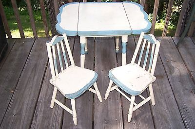 Antique Child's Drop Leaf Table & Chair Set - Wood - Early Children's Play Set