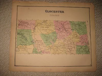 Gorgeous Antique 1870 Glocester Providence County Rhode Island Handcolored Map N