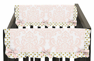 Pink And White Damask 2P Side Rail Guard Crib Cover Baby Girl Teething Protector