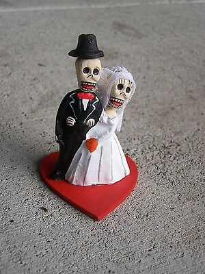 Day of the Dead Clay Skeleton Bride and Groom Wedding Couple on Heart - Mexico