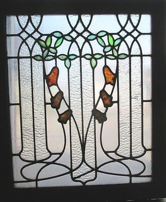 ~ ANTIQUE AMERICAN STAINED GLASS WINDOW ~ 24 x 28.75 ~ ARCHITECTURAL SALVAGE ~