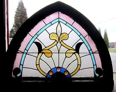 ~ Antique American Stained Glass Window ~ Gothic ~ Architectural Salvage ~