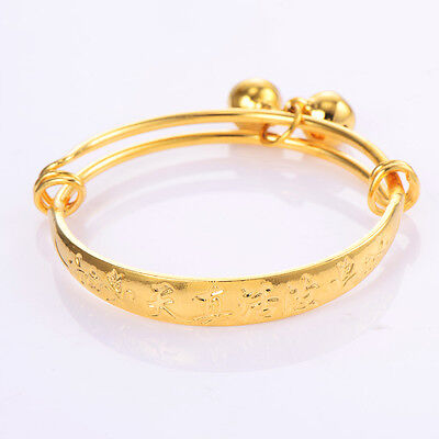 Kids Baby child Bell bracelet toddler jewelry Yellow gold filled Adjustable