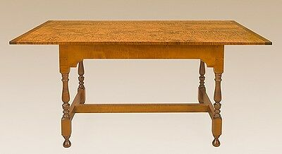 Kitchen Table - Tiger Maple Wood - Stretcher Base - American Made Furniture