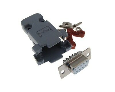 DB9 Female D-Sub connector w/ Two Piece Backshells Hoods - Color: Grey