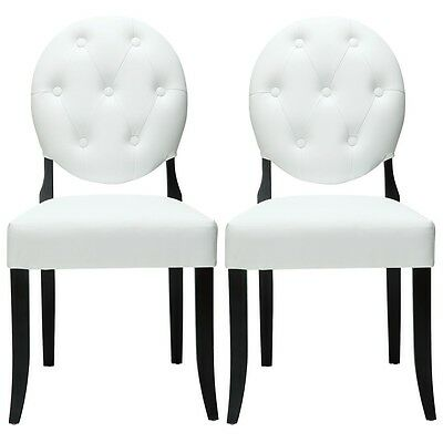 Modway Furniture EEI-912-WHI Button Dining Chairs Set of 2- White NEW