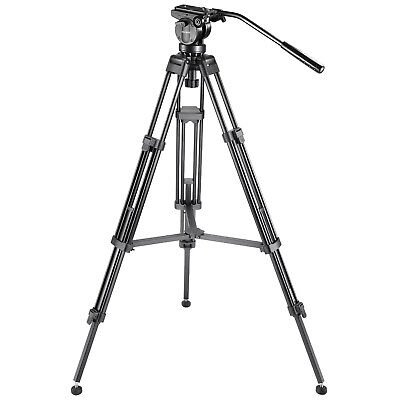"""Neewer 61"""" Tripod with 360 Degree Fluid Drag Head,1/4"""" 3/8""""Quick Release Plate"""