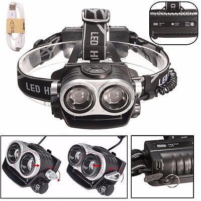 UK 12000LM T6 USB zoom 2X Lampada frontale LED Android Ricaricabile bici torcia