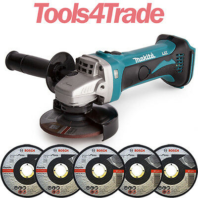"""Makita DGA452Z 18v 4.5"""" 115mm Angle Grinder Body With 5 x Metal Cutting Discs"""