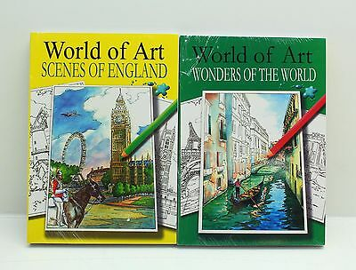 NEW 6 x World Of Art Adult Colouring Creative Therapy Relaxing Books -  Free P&P