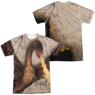 The Hobbit Smaug Attack Sublimation Front & Back Print T-Shirt, NEW UNWORN