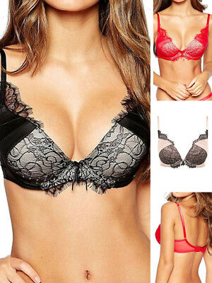 aaf5d7161efc8 Ultimo Vivian 2339 Underwired Plunge Push Up Bra Sexy Lingerie Red Black  Blush