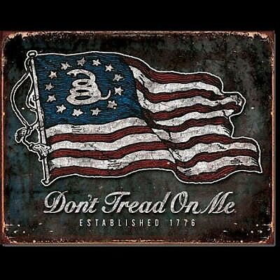 Vintage Replica Tin Metal Sign Dont tread American Flag Iron 2nd amendment 1873