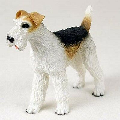 FOX TERRIER Dog HAND PAINTED FIGURINE Resin Statue COLLECTIBLE Wire Haired Puppy