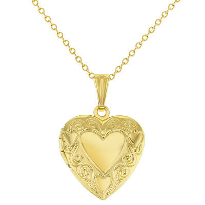 Small Heart Photo Locket Pendant Family Necklace 19""