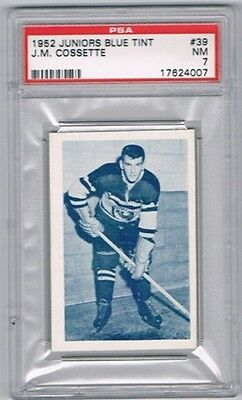 1952 Juniors Blue Tint Hockey Card Three-Rivers Reds J.M. Cossette Graded PSA 7