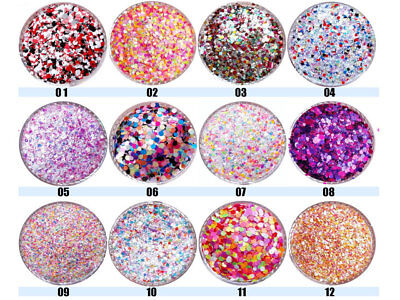 12er Set Nailart MIX Pailetten in 12 Formen Bunt AGP-132