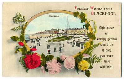 UK Town View Fondest Wishes from Blackpool PC 1917