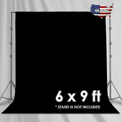 NEW_ Studio 6 x 9 Ft. Black Muslin Photo Backdrop Photography Background