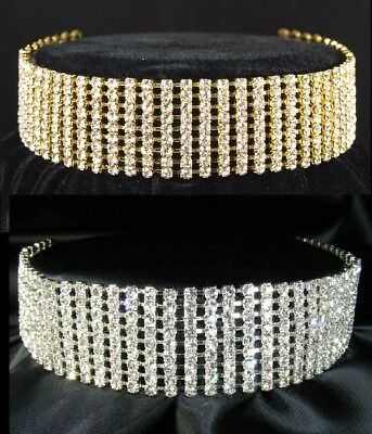 SALE 4, 5, 6 Rows Simulated Diamond Silver / Gold Plated Choker Necklace BN030