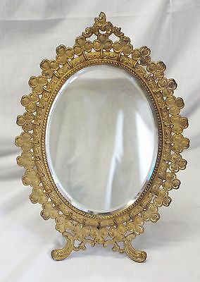 Old Antique Cast Iron Gold Leaf SHAMROCK Oval Shaped Dresser Vanity MIRROR
