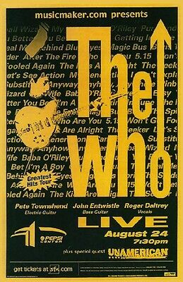 """THE WHO 2002 """"GREATEST HITS TOUR"""" DENVER CONCERT POSTER-Townshend Playing Guitar"""