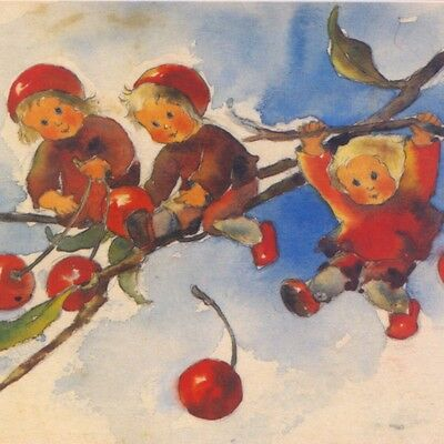 "Mili Weber..""cherry"" Fairies,tiny Children In Tree,watercolor Repro Postcard"