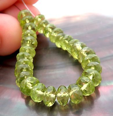 28 FINEST AAAAA FACETED 4.3-5.4mm AZ GLOWING APPLE GREEN PERIDOT BEADS