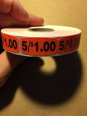 "1.5"" x .75"" 5/$1.00 MERCHANDISE LABELS 1000 PER ROLL FL RED STICKER"