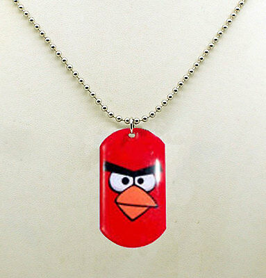 ANGRY BIRDS DOG TAG NECKLACE KEY CHAIN RED BIRD Rovio Party Favor Valentine NEW