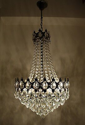 Antique French Basket Style Brass & Crystals LARGE Chandelier from 1950's • CAD $621.30