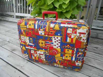 MOD Vtg Retro 70's Hardshell SUITCASE Psychedelic LUGGAGE Pop Art Overnight CASE