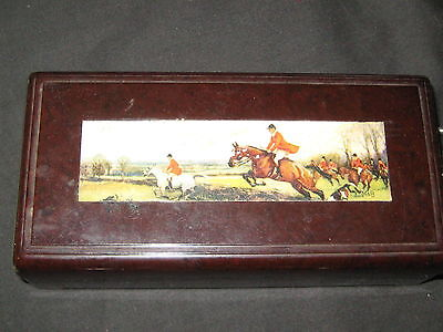 Bakelite Jewelry Box with Fox Hunting Picture on top, some contents         eb03