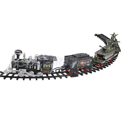 Electric Military Track Train Set with Real Smoke Batteries Operated Toys