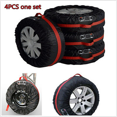 """4pcs Car Seasonal Spare Tire Protection Cover Carry Tote Storage Bag For 13""""-19"""""""