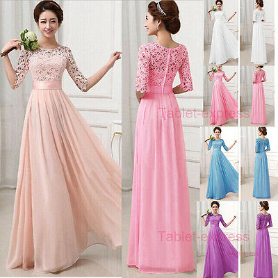 Long Women's Chiffon Evening Party Formal Bridesmaid Prom Gown Dress 2017