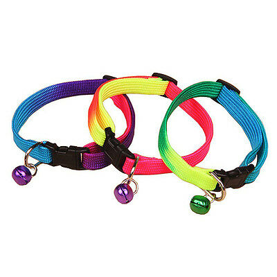 Pet Dog Puppy Cat Kitten Soft Adjustable Rainbow Collar Safety Buckle with Bell~