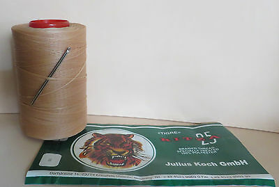 RITZA TIGRE WAXED HAND SEWING THREAD 0.8mm  FOR LEATHER/CANVAS & 2 NEEDLES BEIGE