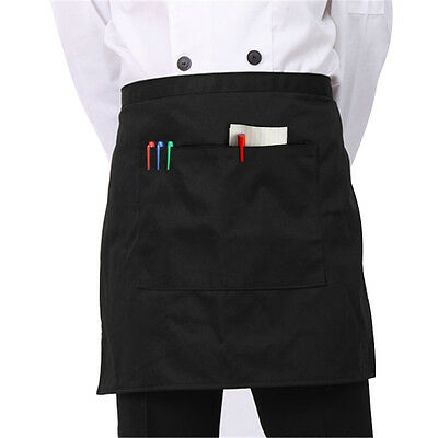 Short Waist Apron with Front Pocket for Chefs Butcher Kitchen Cooking Bar Waiter
