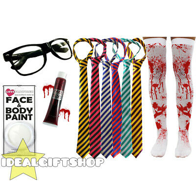 Zombie School Girl Halloween Fancy Dress Tie Glasses Blood Face Paint Stockings