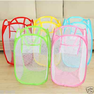 Foldable Light Laundry Basket Storage Bags Travel Mesh Dirty Clothes Washing Bag