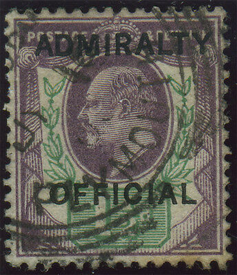 """SG O103 """"Admiralty Official"""" 1½d dull purple & green, very fine used example wit"""